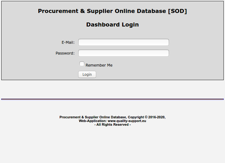 Supplier Online Database Corporation Login